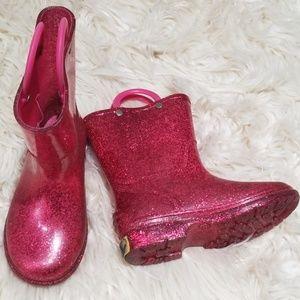 Western Chief pink glitter rain boots wellies sz.8